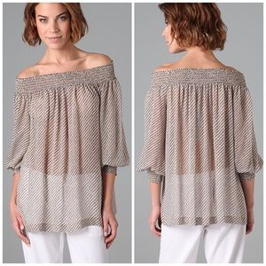 Theory silk Hajar smocked off the shoulder top